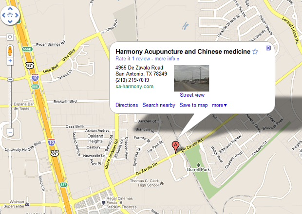 SA Harmony Acupuncture map
